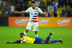 March 21, 2019 - Orlando, Florida, USA - Ecuador midfielder Renato Ibarra (5) falls as he defends US midfielder Tyler Adams  during an international friendly between the US and Ecuador at Orlando City Stadium on March 21, 2019 in Orlando, Florida. .The US won 1-0..©2019 Scott A. Miller. (Credit Image: © Scott A. Miller/ZUMA Wire)