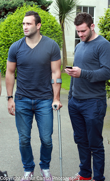 27/5/14 Irish rugby players Dave Kearney on crutches and Fergus McFadden going to see Jordan Belfort aka The Wolf of Wall Street, speak at the RDS, Dublin. Picture:Arthur Carron
