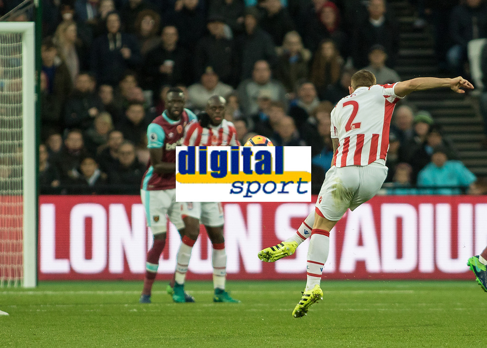 Football - 2016 / 2017 Premier League - West Ham United vs. Stoke City<br /> <br /> Phillip Bardsley of Stoke City with a fierce drive at the the West Ham goal at The London Stadium.<br /> <br /> COLORSPORT/DANIEL BEARHAM