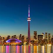 Toronto Ontario Canada 2019. View from Toronto island at sunset.