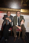 Naim Attallah, David Elliott, Literary Review  40th anniversary party and Bad Sex Awards,  In & Out Club, 4 St James's Square. London. 2 December 2019