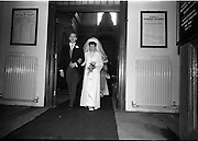 """16/09/1967<br /> 09/16/1967<br /> 16 September 1967<br /> Wedding of Mr Francis W. Moloney, 28 The Stiles Road, Clontarf and Ms Antoinette O'Carroll, """"Melrose"""", Leinster Road, Rathmines at Our Lady of Refuge Church, Rathmines, with reception in Colamore Hotel, Coliemore Road, Dalkey. Image shows the Bride and Groom leaving the church after the ceremony."""