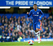 Chelsea's Faustino Anjorin  during an English Premier League soccer match between Chelsea and Everton at Stamford Bridge stadium, Sunday, March 8, 2020, in London, United Kingdom. Chelsea defeated Everton 4-0. (Mitchell Gunn-ESPA Images/Image of Sport via AP)