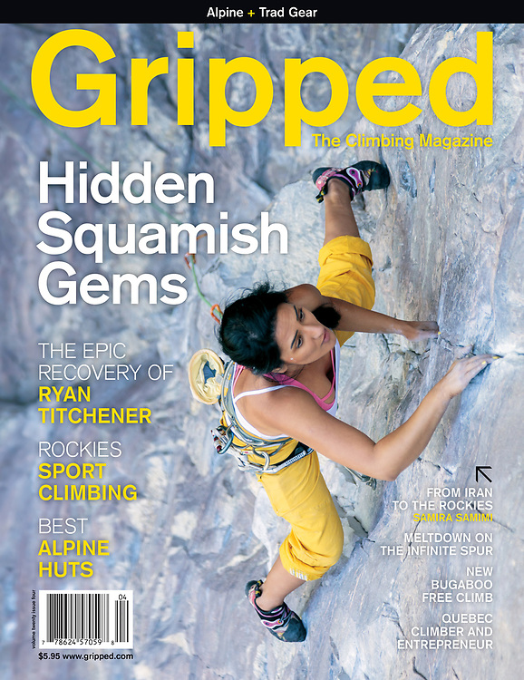 Samira Samimi Szymiec on the cover of Gripped, climbing Mardi Gras, 5.11a at Lake Louise in Alberta Canada