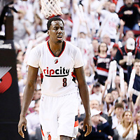 25 April 2016: Portland Trail Blazers forward Al-Farouq Aminu (8) reacts during the Portland Trail Blazers 98-84 victory over the Los Angeles Clippers, during Game Four of the Western Conference Quarterfinals of the NBA Playoffs at the Moda Center, Portland, Oregon, USA.
