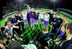 Players celebrate with a trophy after winning the football match between NK Maribor and NK Celje in final of Slovenian Cup 2013 on May 29, 2013 in Stadium Bonifika, Koper, Slovenia. Maribor defeated Celje 1-0 and became Slovenian Cup Champion 2013. (Photo By Vid Ponikvar / Sportida)