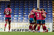CELEBRATIONS from Ipswich Town from a Ipswich Town midfielder Gwion Edwards (7) goal during the EFL Sky Bet League 1 match between Bristol Rovers and Ipswich Town at the Memorial Stadium, Bristol, England on 19 September 2020.