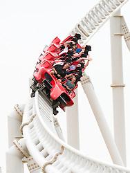 World's fastest Rollercoaster at Ferrari World in Abu Dhabi United Arab Emirates