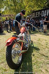 BF8 Invited builder Max Schaaf's 4Q Conditioning custom Harley-Davidson Panhead at the Born Free Motorcycle Show-8 at Oak Canyon Ranch. Silverado, CA, USA. Saturday June 25, 2016.  Photography ©2016 Michael Lichter.