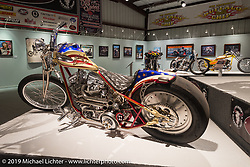 "Paul Cox's Panhead in the ""Built for Speed"" exhibition curated by Michael Lichter and Paul D'Orleans in the Russ Brown Events Center as part of the annual ""Motorcycles as Art"" series at the Sturgis Buffalo Chip during the Black Hills Motorcycle Rally. SD, USA. August 5, 2014.  Photography ©2014 Michael Lichter."