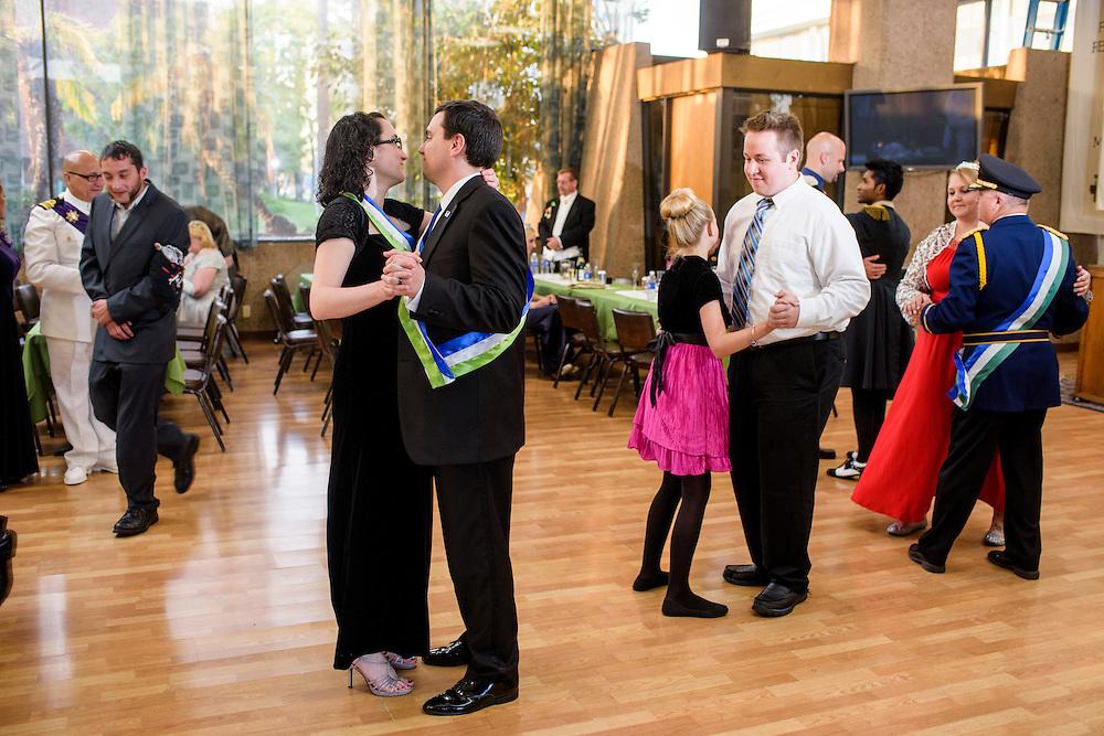 Anaheim , California - April 11, 2015: Attendees dance during the MicroCon 2015 cotillion at the Unitarian Universalist Church in Anaheim Saturday April 11, 2015.<br /> <br /> CREDIT: Matt Roth