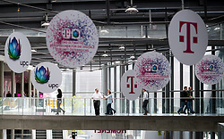 """26.03.2019, T-Center, Wien, AUT, T-Mobile, Pressekonferenz zum Thema""""5G-Pionier Österreich - T-Mobile startet 5G-Netz"""", im Bild Feature UPC und T-Mobile Schilder // during an media briefing of the Austrian telecommunication company """"T-Mobile"""" which presents the start of the 5th generation of cellular mobile communications """"5G"""" in Austria in Vienna, Austria on 2019/03/26, EXPA Pictures © 2019, PhotoCredit: EXPA/ Michael Gruber"""