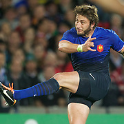 Maxime Medard, France, kicks during the Wales V France Semi Final match at the IRB Rugby World Cup tournament, Eden Park, Auckland, New Zealand, 15th October 2011. Photo Tim Clayton...