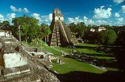 GUATEMALA, MAYAN, TIKAL #1 'Jaguar' Temple and Great Plaza