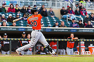 Justin Ruggiano #20 of the Miami Marlins bats against the Minnesota Twins in Game 2 of a split doubleheader on April 23, 2013 at Target Field in Minneapolis, Minnesota.  The Marlins defeated the Twins 8 to 5.  Photo: Ben Krause