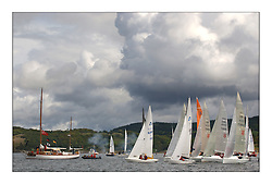 Yachting- The first days inshore racing  of the Bell Lawrie Scottish series 2003 at Tarbert Loch Fyne.  Light shifty winds dominated the racing...Solings lead the sportsboat start with Lord of the Isles from Ayr...Pics Marc Turner / PFM