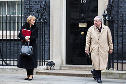 London, UK. 12th February, 2019. Andrea Leadsom MP, Lord President of the Council and Leader of the House of Commons, and Geoffrey Cox QC MP, Attorney General, leave 10 Downing Street following a Cabinet meeting.