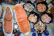 Luxury salmon, shrimp, caviar and assorted seafood displayed at Caviar House & Prunier at Heathrow Terminal 5