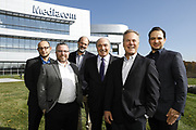SHOT 10/31/18 11:35:56 AM - Mediacom Communications Corporation is a cable television and communications provider headquartered in Chester, New York. Founded in 1995 by Rocco B. Commisso, it serves primarily smaller rural markets in the Midwest and Southern United States. In the group photo Mediacom's Jack Griffin, Mark Stephan, Tom Larsen, Ruben Martino, Rocco Commisso and CoBank RM Gary Franke. (Photo by Marc Piscotty © 2018)