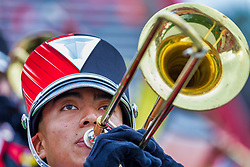 NORMAL, IL - October 02: Trombone player in Big Red Marching Machine during a college football game between the Bears of Missouri State and the ISU (Illinois State University) Redbirds on October 02 2021 at Hancock Stadium in Normal, IL. (Photo by Alan Look)