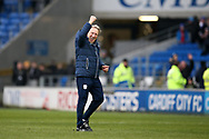 Neil Warnock, the Cardiff city manager shows his delight as he celebrates his teams 4-0 win at the end of the match. EFL Skybet championship match, Cardiff city v Sunderland at the Cardiff city stadium in Cardiff, South Wales on Saturday 13th January 2018.<br /> pic by Andrew Orchard, Andrew Orchard sports photography.