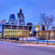 Kansas City Skyline and Convention Center at dusk after a snowfall.
