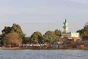 A mosque on the banks of the Niger River at Segou, Mali