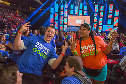 Volunteers at We Day 2015, Seattle, Washington. Free the Chldren event which inspires youth activism and volunteering.