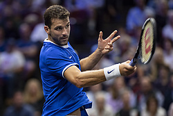 September 21, 2018 - Chicago, Illinois, U.S - GRIGOR DIMITROV of Bulgaria returns a forehand during the first match on Day One of the Laver Cup at the United Center in Chicago, Illinois. (Credit Image: © Shelley Lipton/ZUMA Wire)