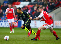 Byron Moore of Bristol Rovers takes on Ashley Eastham of Fleetwood Town - Mandatory by-line: Robbie Stephenson/JMP - 02/04/2018 - FOOTBALL - Highbury Stadium - Fleetwood, England - Fleetwood Town v Bristol Rovers - Sky Bet League One