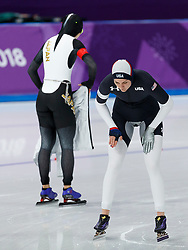 February 12, 2018 - Gangneung, South Korea - Heather Bergsma of USA warms up before her race with Miho Takagi of Japan in the Women's 1500M Speed Skating at the PyeongChang 2018 Winter Olympic Games at Gangneung Oval on Monday February 12, 2018. (Credit Image: © Paul Kitagaki Jr. via ZUMA Wire)