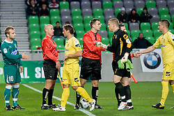 Shaking hand before the football match between NK Olimpija and NK Domzale in second leg of quarter-final of Hervis Cup, on October 27, 2010 in Stadium Stozice, Ljubljana, Slovenia. Photo by Matic Klansek Velej / Sportida