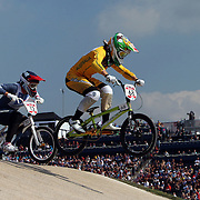 Shanaze Reade, Great Britain, (left) and Caroline Buchanan, Australia, in action during the Cycling BMX Finals Day during the London 2012 Olympic games. London, UK. 10th August 2012. Photo Tim Clayton