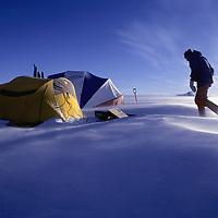 ANTARCTICA, Windy campsite in Queen Maud Land.