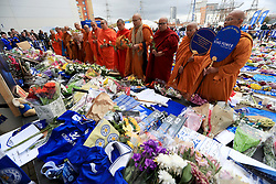 Buddhist monks pay their respects at Leicester City Football Club. PRESS ASSOCIATION Photo. Picture date: Tuesday October 30, 2018. Leicester Chairman, Vichai Srivaddhanaprabha, was among those to have tragically lost their lives on Saturday evening when a helicopter carrying him and four other people crashed outside King Power Stadium. See PA story SOCCER Leicester. Photo credit should read: Mike Egerton/PA Wireat Leicester City Football Club. PRESS ASSOCIATION Photo. Picture date: Tuesday October 30, 2018. Leicester Chairman, Vichai Srivaddhanaprabha, was among those to have tragically lost their lives on Saturday evening when a helicopter carrying him and four other people crashed outside King Power Stadium. See PA story SOCCER Leicester. Photo credit should read: Mike Egerton/PA Wire