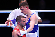 Brendan Irvine of Ireland (bue) with the initials of the Northern Ireland terrorist organisation IRA on his hand whilst competing in the Men's Flyweight preliminaries during The Road to Tokyo European Olympic Boxing Qualification, Sunday, March 15, 2020, in London, United Kingdom. (Mitchell Gunn-ESPA-Images/Image of Sport)