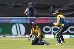 July 1, 2019 - Chester Le Street, County Durham, United Kingdom - Sri Lanka's Jeffrey Vandersay celebrates after catching Chris Gayle off  Kasun Rajitha during the ICC Cricket World Cup 2019 match between Sri Lanka and West Indies at Emirates Riverside, Chester le Street on Monday 1st July 2019. (Credit Image: © Mi News/NurPhoto via ZUMA Press)
