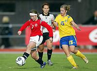Fotball<br /> Landskamp J15/16 år<br /> Tidenes første landskamp for dette alderstrinnet<br /> Sverige v Norge 1-3<br /> Steungsund<br /> 11.10.2006<br /> Foto: Anders Hoven, Digitalsport<br /> <br /> Line Berntsen - Bærum / Norge<br /> Emma Åberg Zingmark - Sverige