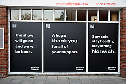 Posters on windows of closed Norwich Playhouse in Norwich during Coronavirus lockdown.  UK April 2020