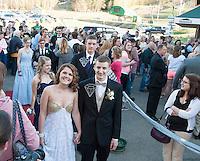 "Megan Long and Garrett Guilmett join the prom march at Gunstock for Laconia High School's ""Night of Diamonds"" junior prom Friday evening.  (Karen Bobotas/for the Laconia Daily Sun)"