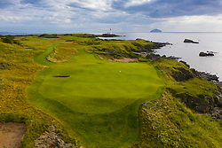 Aerial view of new Maidens 11th hole par 3 on Ailsa golf course at Trump Turnberry resort in Ayrshire, Scotland, UK
