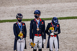 Team Great Britain, Hester Carl, Dujardin Charlotte, Fry Charlotte<br /> Olympic Games Tokyo 2021<br /> © Hippo Foto - Dirk Caremans<br /> 27/07/2021