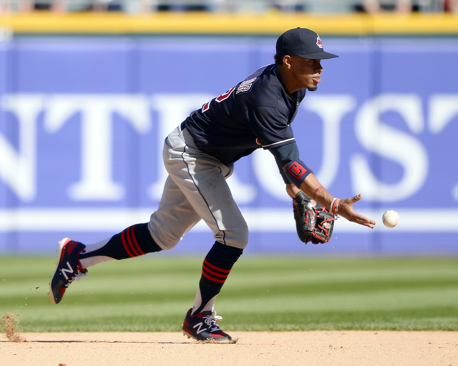 CHICAGO - APRIL 23:  Francisco Lindor #12 of the Cleveland Indians fields against the Chicago White Sox on April 23, 2017 at Guaranteed Rate Field in Chicago, Illinois.  The White Sox defeated the Indians 6-2.  (Photo by Ron Vesely)   Subject:  Francisco Lindor