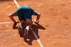 May 5, 2018 - Estoril, Portugal - Joao Sousa of Portugal celebrates his victory over Stefanos Tsitsipas of Greece during the Millennium Estoril Open ATP 250 tennis tournament semifinal, at the Clube de Tenis do Estoril in Estoril, Portugal on May 5, 2018. (Credit Image: © Pedro Fiuza via ZUMA Wire)