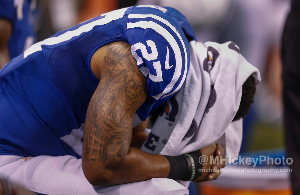INDIANAPOLIS, IN - DECEMBER 20: Winston Guy #27 of the Indianapolis Colts reacts after the game against the Houston Texans at Lucas Oil Stadium on December 20, 2015 in Indianapolis, Indiana.  (Photo by Michael Hickey/Getty Images) *** Local Caption *** Winston Guy