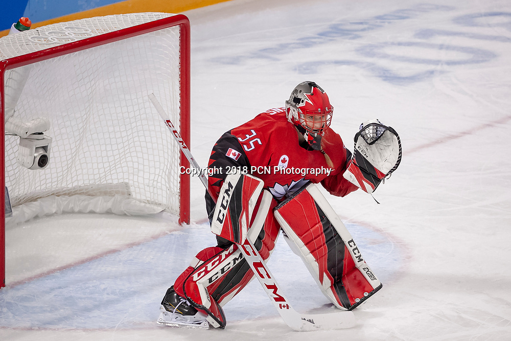 Goalie Ann-Renée Desbiens (CAN) during Team OAR vs Team Cananda competing in Women's hockey at the Olympic Winter Games PyeongChang 2018