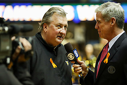 Jan 20, 2018; Morgantown, WV, USA; West Virginia Mountaineers head coach Bob Huggins is interviewed after beating the Texas Longhorns at WVU Coliseum. Mandatory Credit: Ben Queen-USA TODAY Sports
