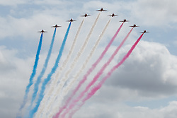 © Licensed to London News Pictures. 17/07/2015. RAF Fairford, UK.Red Arrows, The Royal International Air Tattoo (RIAT). Photo credit : Ian Schofield/LNP