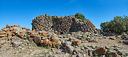 Picture and image of the prehistoric magalith ruins of Nuraghe Arrubiu ( Red Nuraghe), archaeological site, Bronze age (14 -9 th century BC). The Nuraghe Arrubiu is one of the ;argest Nuraghe on Sardinia with a central fortification which had 5 towers reacing 35 -30 mteres high. Orroli, Southern Sardinia. .<br /> <br /> If you prefer to buy from our ALAMY PHOTO LIBRARY  Collection visit : https://www.alamy.com/portfolio/paul-williams-funkystock/nuraghe-arrubiu-sardinia.html<br /> Visit our PREHISTORIC PLACES PHOTO COLLECTIONS for more   photos  to download or buy as prints https://funkystock.photoshelter.com/gallery-collection/Prehistoric-Neolithic-Sites-Art-Artefacts-Pictures-Photos/C0000tfxw63zrUT4