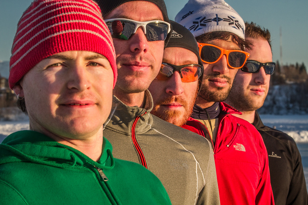 Anchorage Front Runners members:  Luke, Dave, Ryan, Tirrell, and Chance at Westchester Lagoon, Anchorage